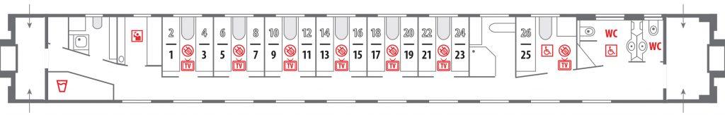 Схема штабного вагона купе